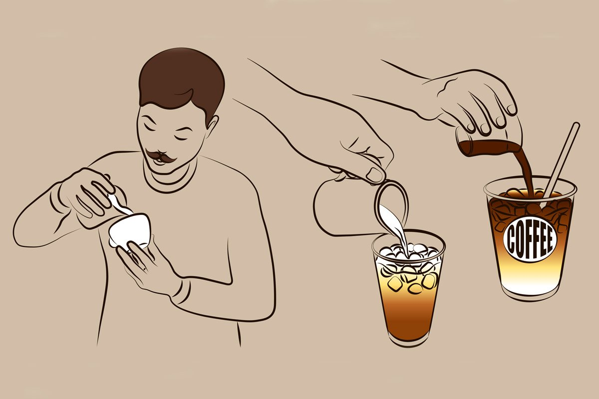 A man makes cold brew coffee in this illustration.