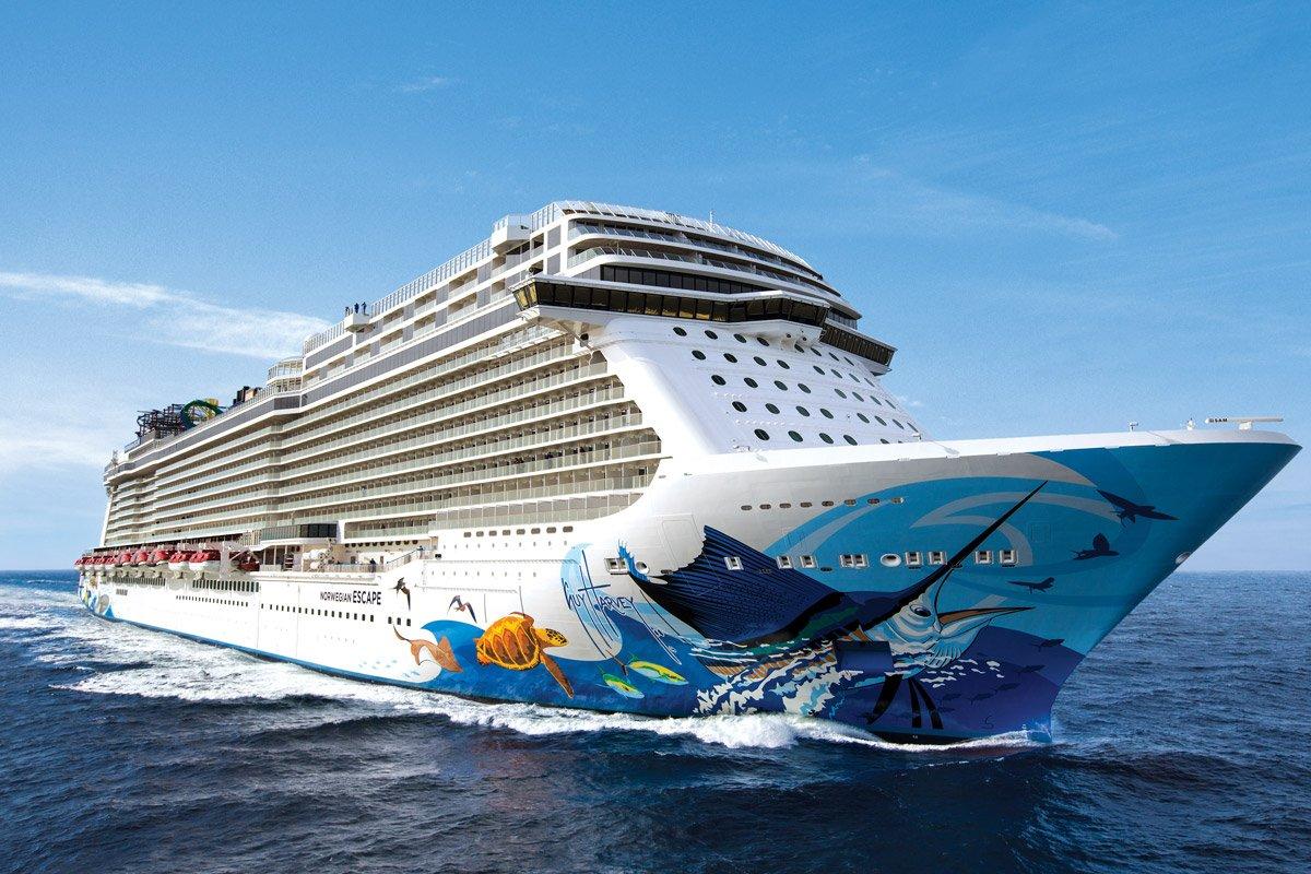 A Norwegian cruise ship in the water.